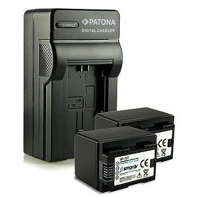Cargador BP-727 + 2x smardy® Bateria Accu para Canon LEGRIA HF M52 M506 R38 R48 R306 R506 VIXIA M500 R400..