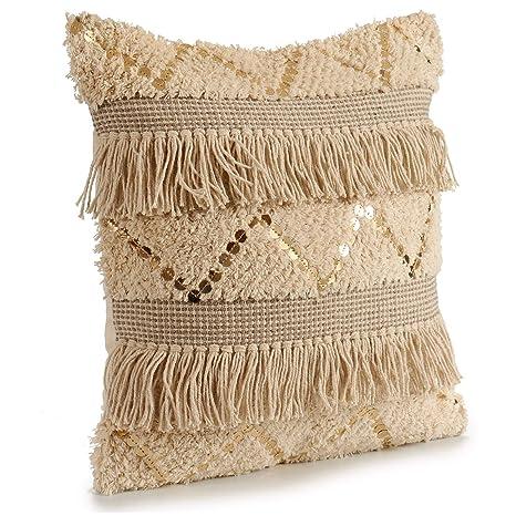 TU TENDENCIA UNICA Cojín Decorativo de Punto Beige con Motivos de algodón en Beige y Blanco. con Lentejuelas y Flecos. Medidas: 45x15x45 cm