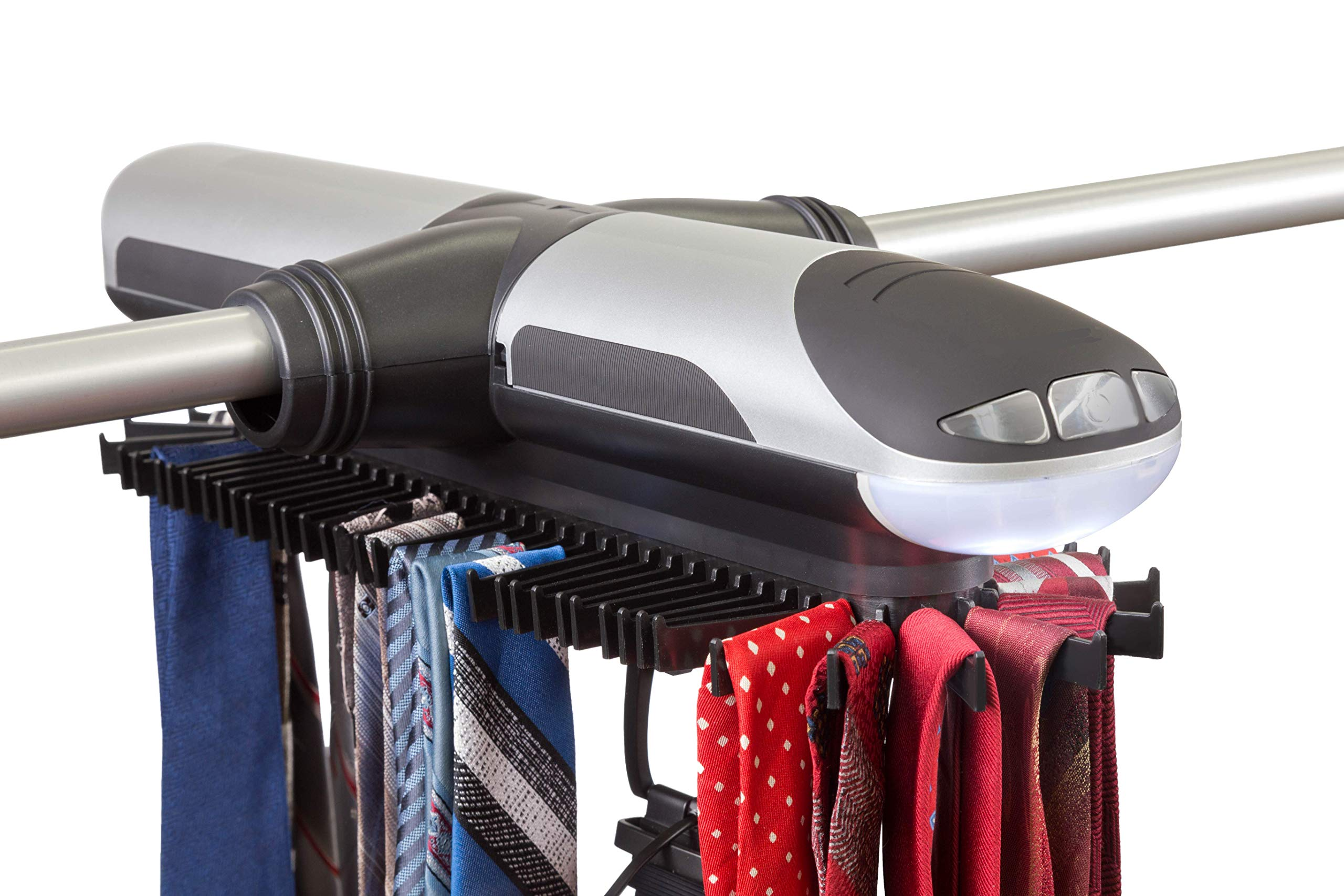Etienne Alair Motorized Tie Rack and Belt Organizer for Closet with Cool LED Lights - Battery Operated - Free Travel Tie Pouch and Clip Included - Includes J Hooks for Wire Shelving by Etienne Alair