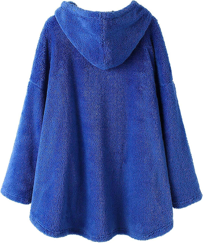 Pullover Damen Casual Hoodie Oversize Kapuzenpullover Mode Plüschmantel mit Motiv Netter Katzen Weiche Warme Oberteile Herbst Winter Tops Lose Bluse Blue