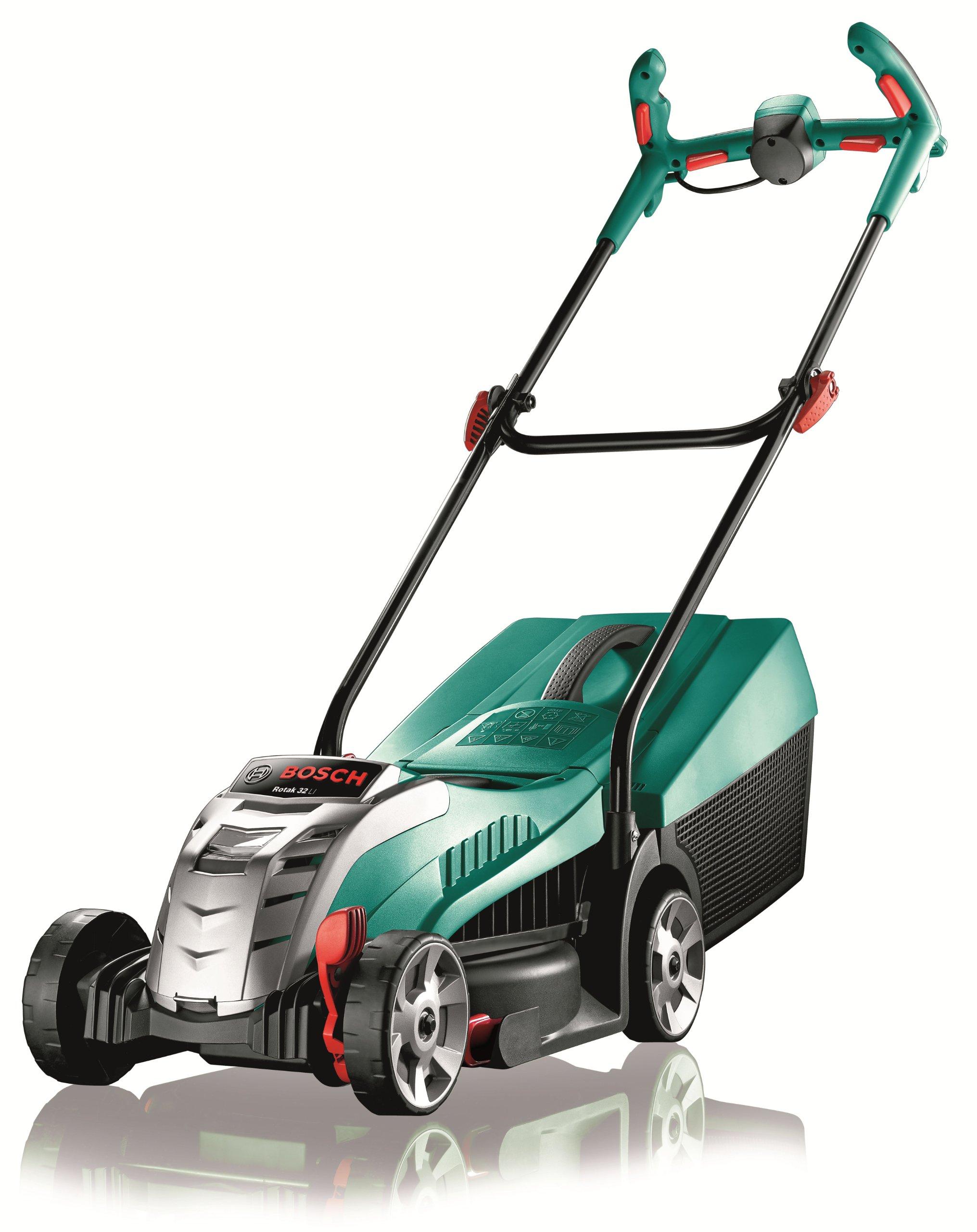 Bosch Rotak 32 Cordless Lawnmower LI High Power (battery, charger, 31-litre grass box, 36 V, cutting width/height: 32 cm/3-6 cm)