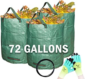 Rifny Reusable Canvas Garden Waste Bags, Heavy-duty Gardening Bags, Lawn Pool Garden Leaf Waste Bag With Gloves Collecting Leaves Grass Clippings Yard Debris (3-Pack 72 Gallons)