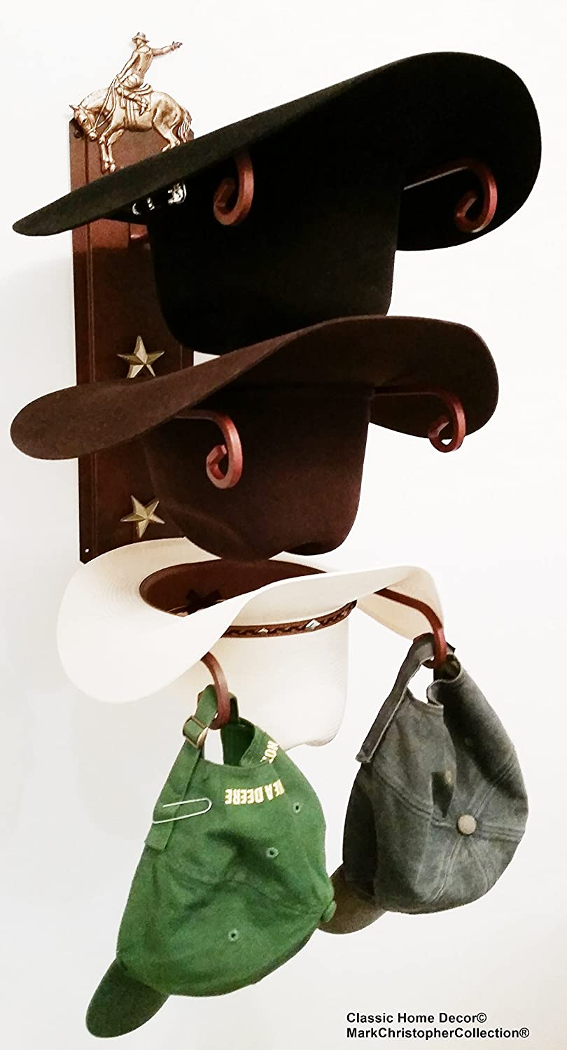 Mark Christopher Collection American Made Cowboy Hat Holder Bronc Rider Rust with Gold Stars Classic Home Decor 663 Bronc CT
