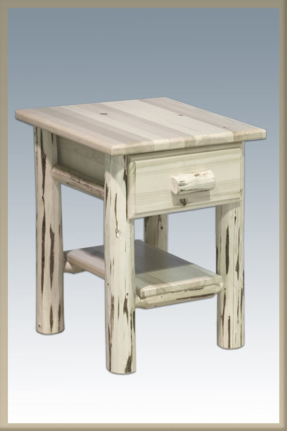 Montana Woodworks Log Nightstand with Drawer - Varnished