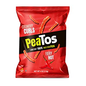 PeaTos Crunchy Hot Curls, Fiery Hot, 4 Ounce (4 Count), Junk Food Taste, Pea Protein Snacks, Gluten Free, Vegan