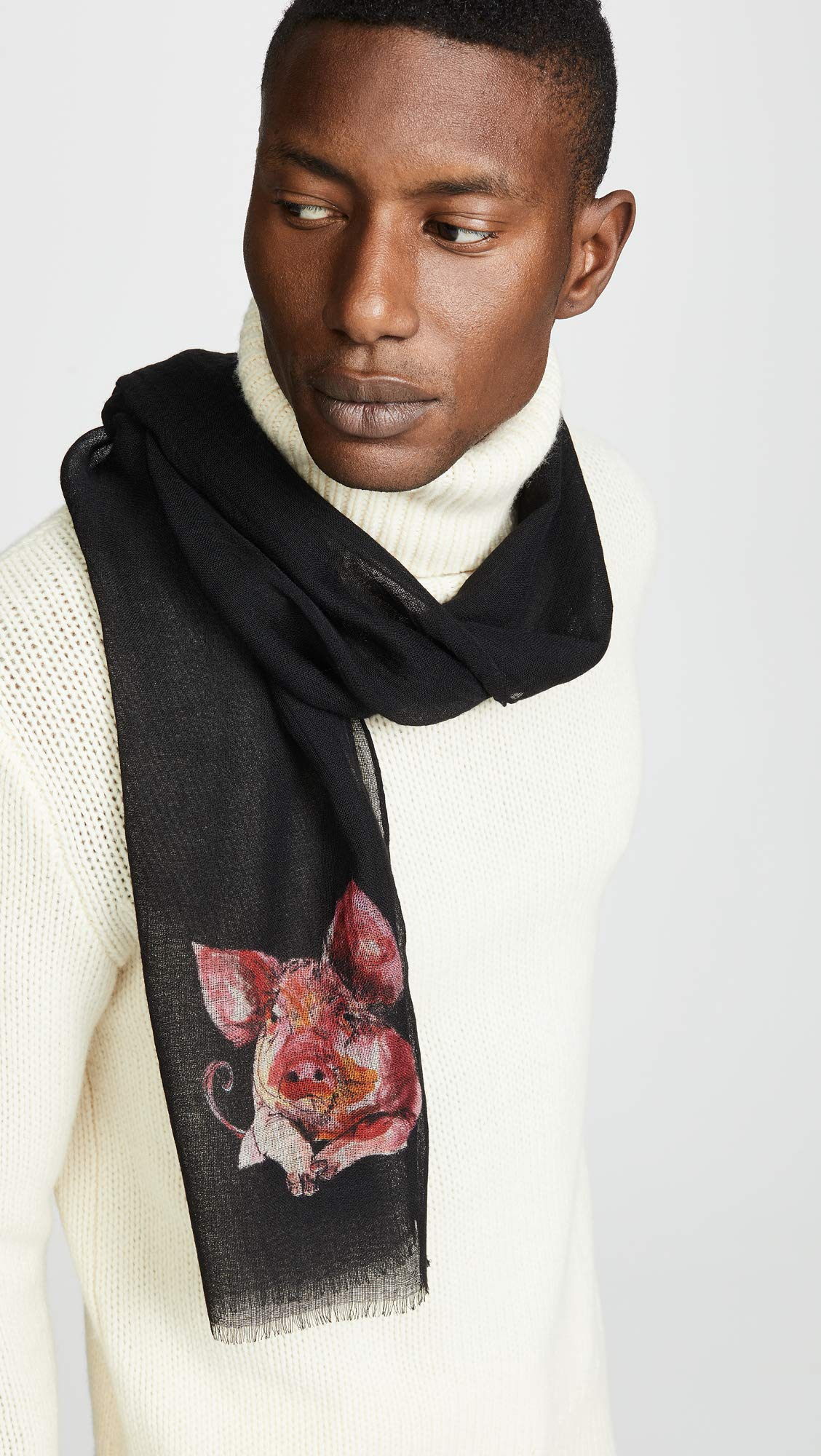 Paul Smith Men's Pig Scarf, Black, One Size by Paul Smith (Image #2)