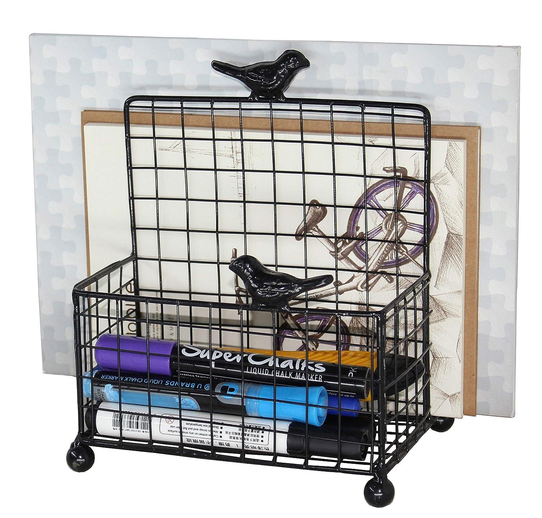 Black Owlgift HWF1001BLK Mail Organizer Wire Wall Mounted Mail Sorter//Desktop Storage Organizer Rack Metal Mesh Office Supplies Storage Rack
