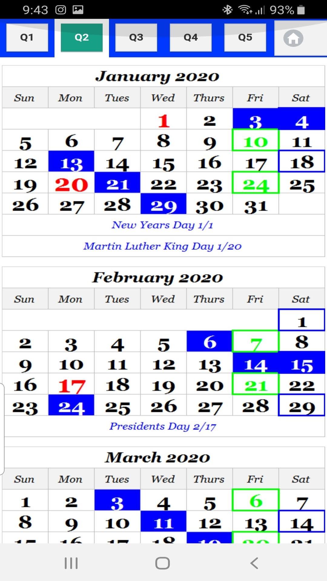 Amazon.com: 2020 USPS Carrier color coded Calendar 6 color Sunday
