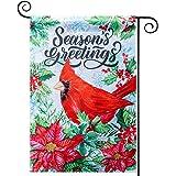 hogardeck Christmas Garden Flag, Cardinal Bird Garden Flag, Double Sided, Winter Holiday Christmas Yard Flag Outdoor Indoor C