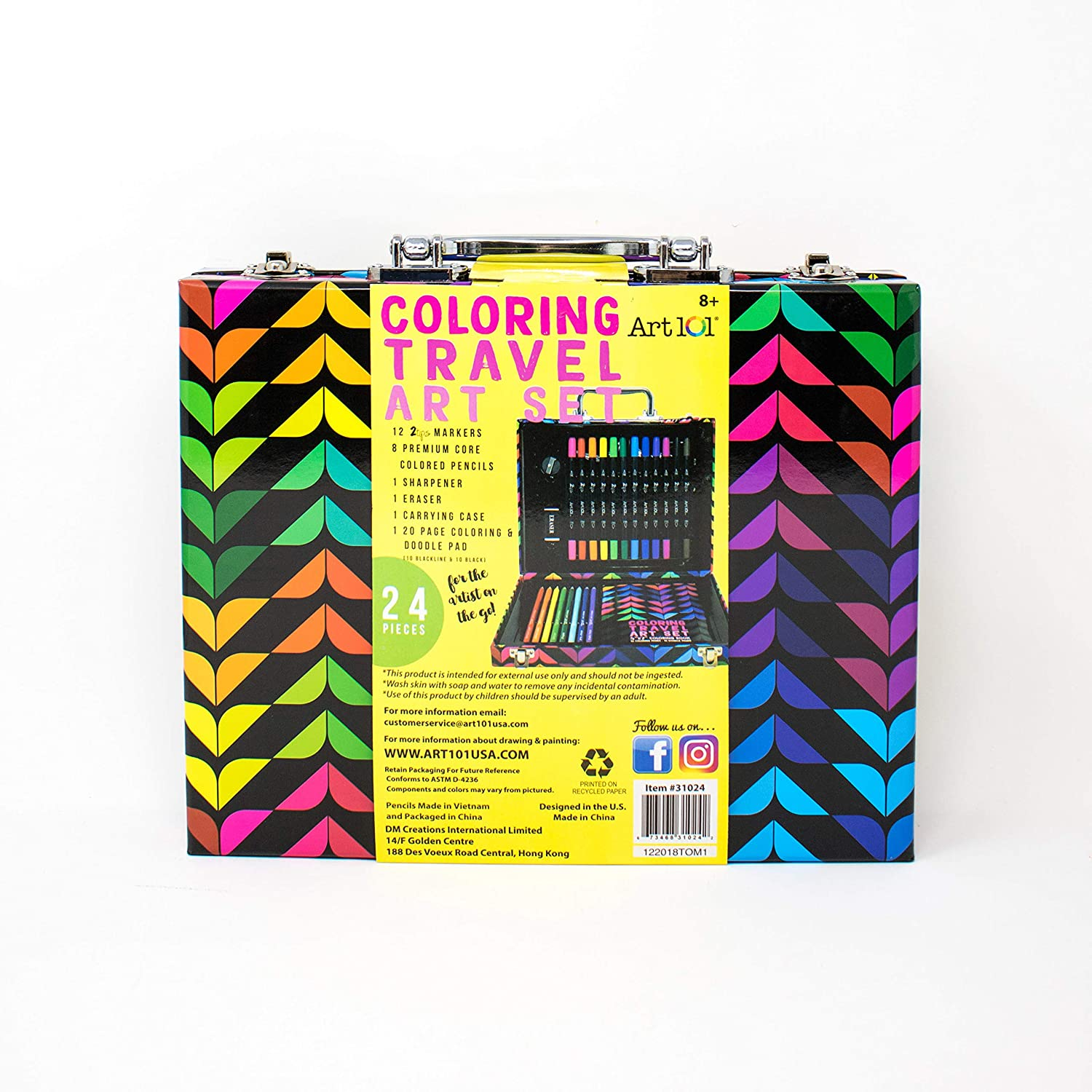 Multi Art 101 Coloring Travel Art Set with 24 Pieces in a Colorful Carrying Case
