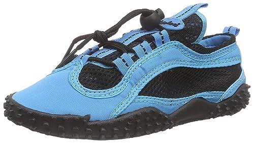 PlayshoesBadeschuhe, Aquaschuhe, Surfschuhe neonfarben - Zapatillas Impermeables Unisex Adulto, Color Azul, Talla 39 UE