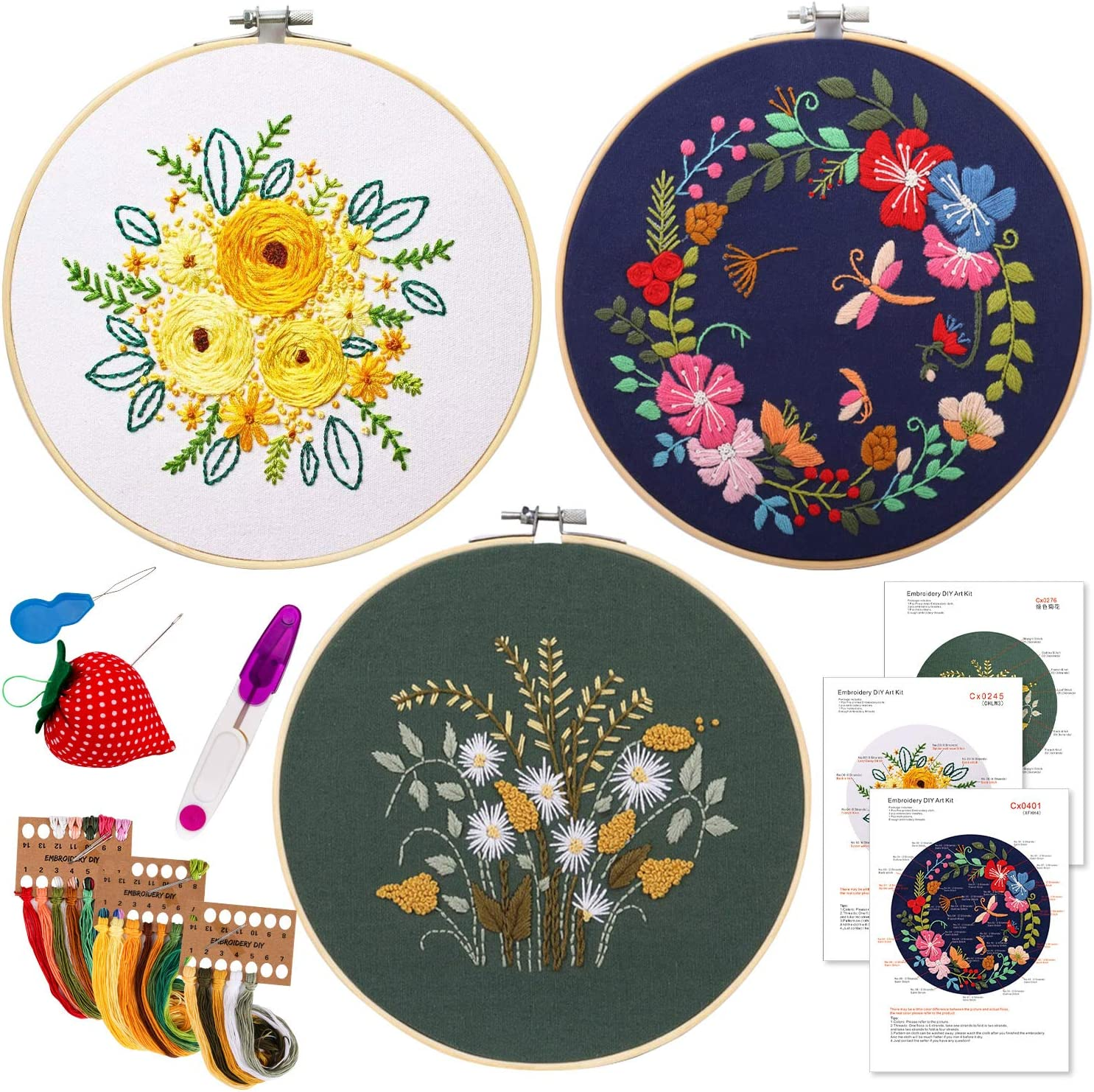 kit 1 Embroidery Starter Kit with Pattern and Instructions,Cross Stitch Kit Full Range of Stamped Embroidery Kits for DIY Beginner Starter