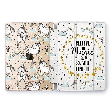 fd491592c4 Wonder Wild iPad Case Pro 9.7 inch Mini 1 2 3 4 Air 2 10.5 12.9 2018 2017  Stars Unicorn Print Cute Design 5th 6th Generation Cream Kawaii White Cover  Girls ...