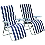 FoxHunter 2 Adjustable Foldable Sun Reclining Recliner Chairs Garden Outdoor Relaxer Lounger With Cushion FH-SR01 Blue