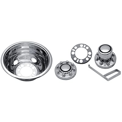 "Kaper II SS-1604-UE2 Polished Stainless Steel Universal Truck Wheel Simulator Set for Chevrolet/Ford/Dodge (16"" x 6"" 6.5"" Bolt Circle 8 Lug 4 Hand Hole, Under The Lug Mounting): Automotive"