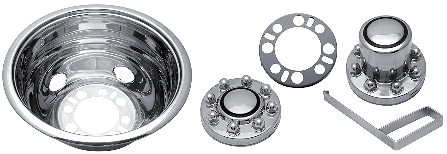 Kaper II SS-1604-UE2 Polished Stainless Steel Universal Truck Wheel Simulator Set for Chevrolet/Ford/Dodge (16' x 6' 6.5' Bolt Circle 8 Lug 4 Hand Hole, Under The Lug Mounting)