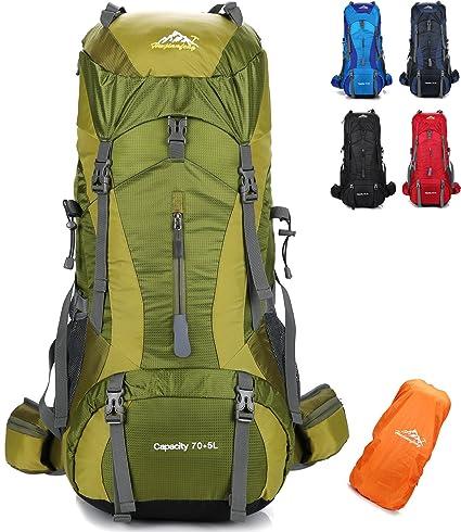 onyorhan 70L+5L Mochila Viaje Trekking Excursionismo Senderismo Alpinismo Escalada Camping Hombre Mujer (Verde