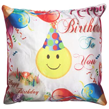 Twisha Happy Birthday Smile with Cap Pillow 12 X 12 X 4 Inch