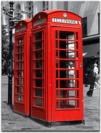 Bilderdepot24 Cuadros en Lienzo Cabina de teléfono roja en Londres ...
