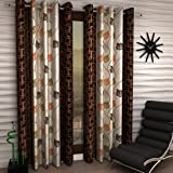 Home Sizzler Floral 2 Piece Eyelet Polyester Door Curtain Set - 7ft, Brown