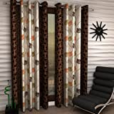 Home Sizzler Floral 2 Piece Eyelet Polyester Door Curtain Set  - 7ft , Brown