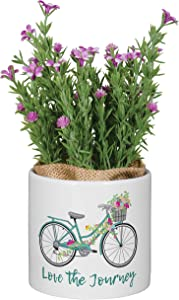 Inspirational Ceramic Planter with Faux Flowers (Bicycle)