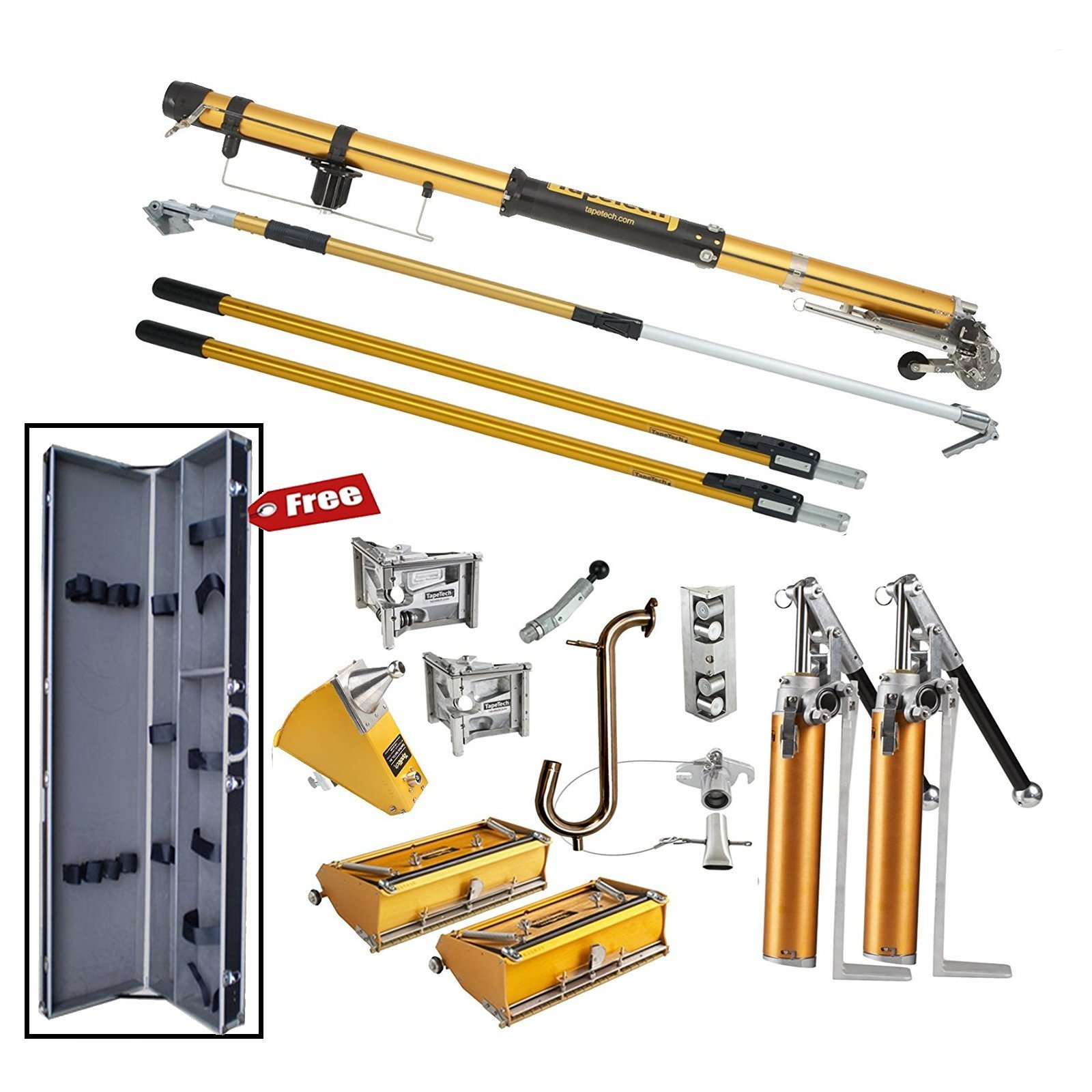 TapeTech Standard Full Drywall Tool Set with 2 Pumps - FREE Tool Case by TapeTech