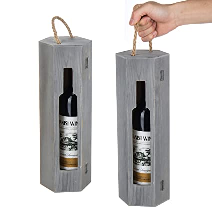 Amazon Com Mygift Single Bottle Hexagon Gray Wood Wine Gift Box