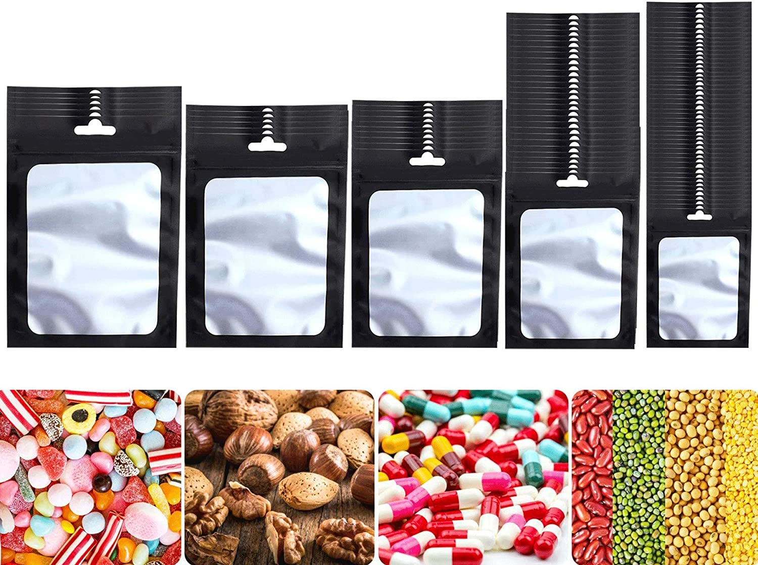 150 Pieces Resealable Mylar Bags with Clear Window Heat Seal Pouch Food Safe Storage Aluminum Foil 5 Different Sizes Smell Proof Storage Bags for Coffee Beans Candy Nuts Soap Sample (Black)