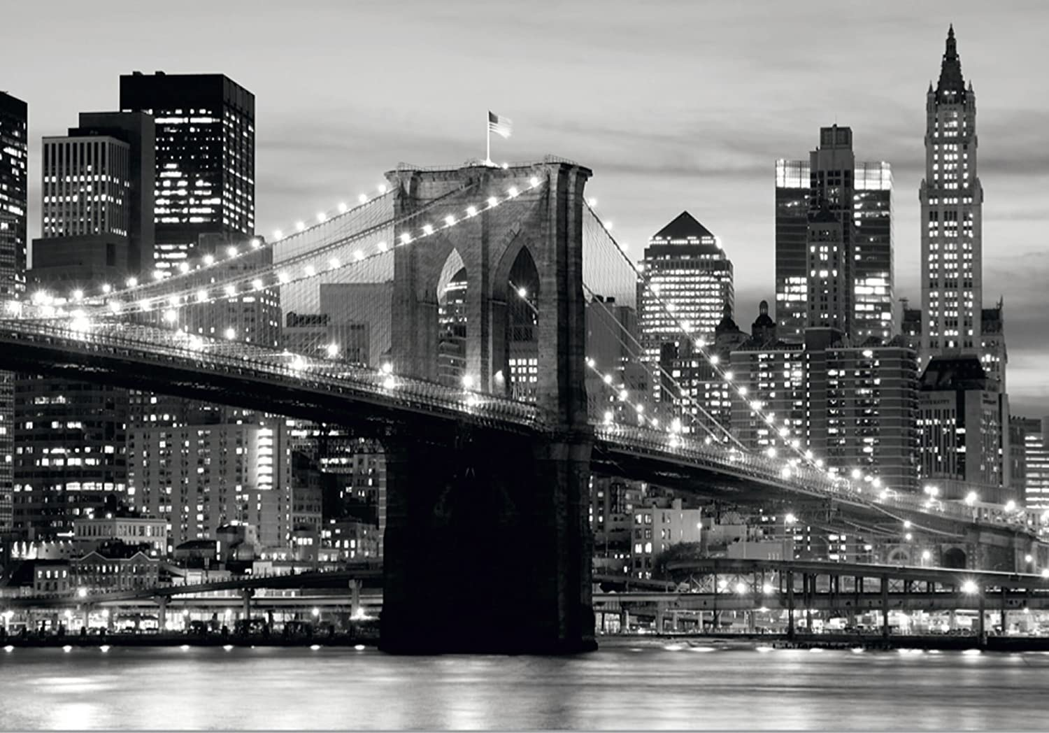 New York City Brooklyn Bridge At Night In Black And White Wall
