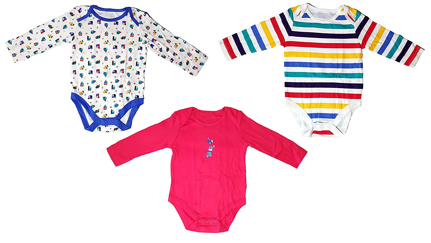 :Mothercare Transport Bodysuits - 3 Pack Long Sleeve Purse Soft Cotton 6-9 Months