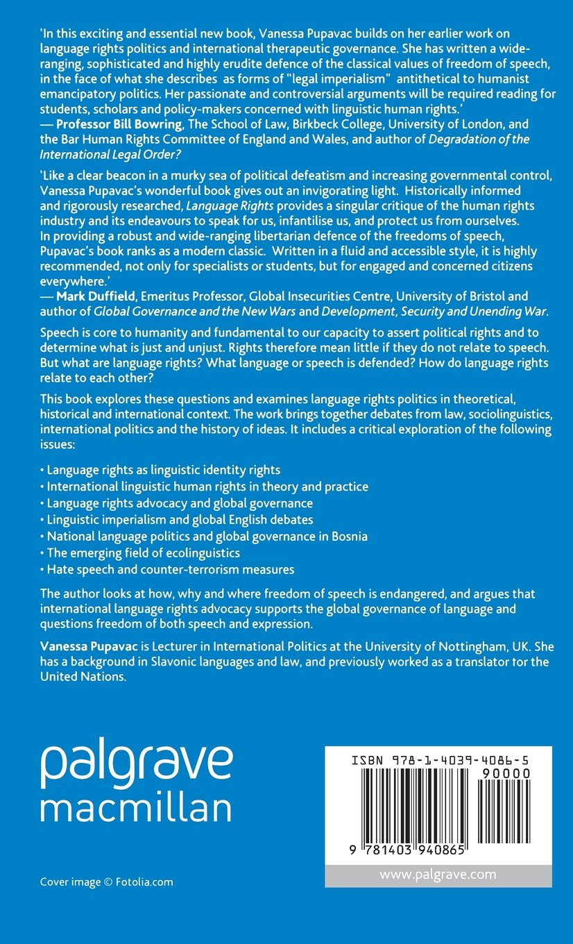 Language Rights: From Free Speech to Linguistic Governance (Palgrave Studies in Minority Languages and Communities)