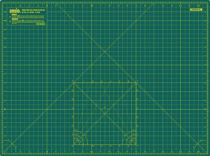 Ansio A3 Tapis de D/écoupe /à Double Face Autocicatrisant /à 5 Couches de imp/érial//m/étrique 17 Pouces x 11 Pouces // 44 cm x 29 cm Vert