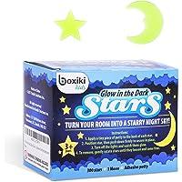 Boxiki Kids - Pack de 300 estrellas brillantes y luna para niños, diseño de estrellas de techo fluorescentes para niños, luna brillante y estrellas para dormitorios y guarderías