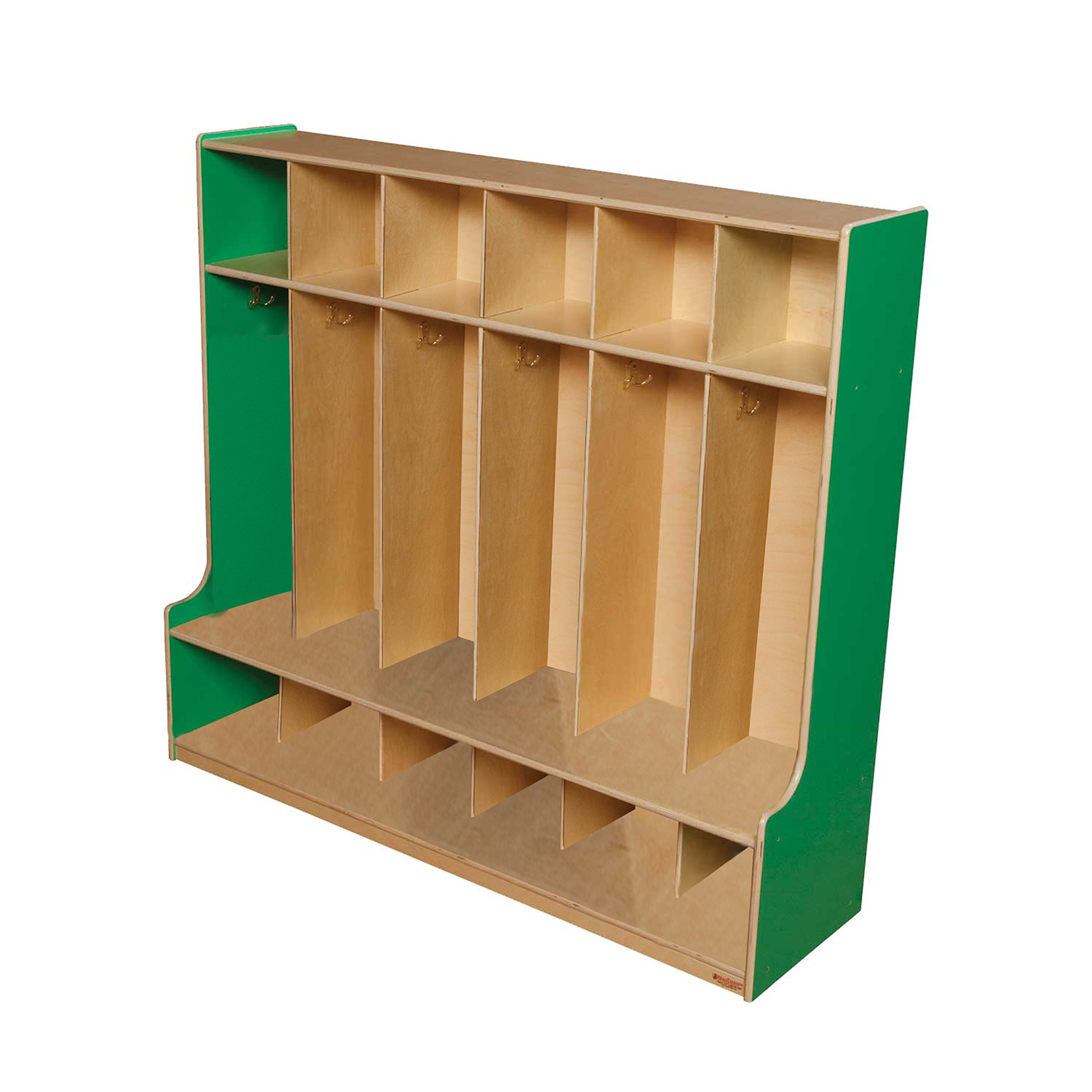 Wood Designs 51006G Green Apple 6 Section Seat Locker, 49'' Height, 18.5'' Width, 57'' Length