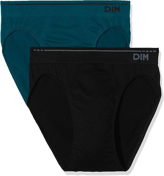 Unno DIM Basic Algodón Sin Costuras Slip Pack X2 Dim Basic, Color Negro (Vert Pin/Noir), Tamaño L (Fabricante 4) 2 para Hombre: Amazon.es: Ropa y accesorios