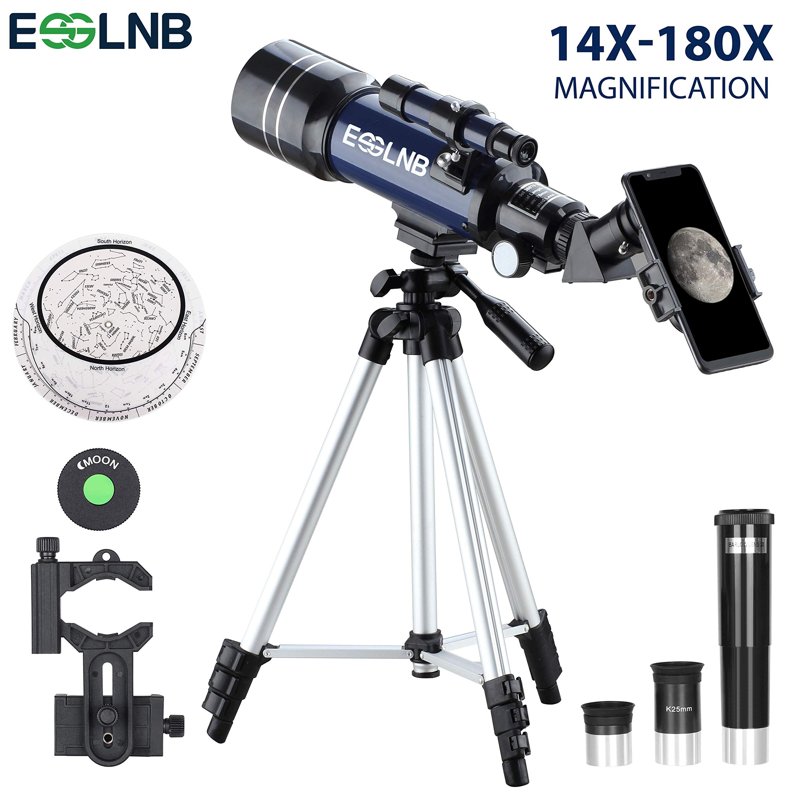 ESSLNB Telescope for Kids 70mm Refractor Telescope with Smartphone Adapter 51.6in Tripod Astronomical Telescopes for Astronomy Beginners Adults 3X Barlow Moon Filter Fully Coated Lens by ESSLNB