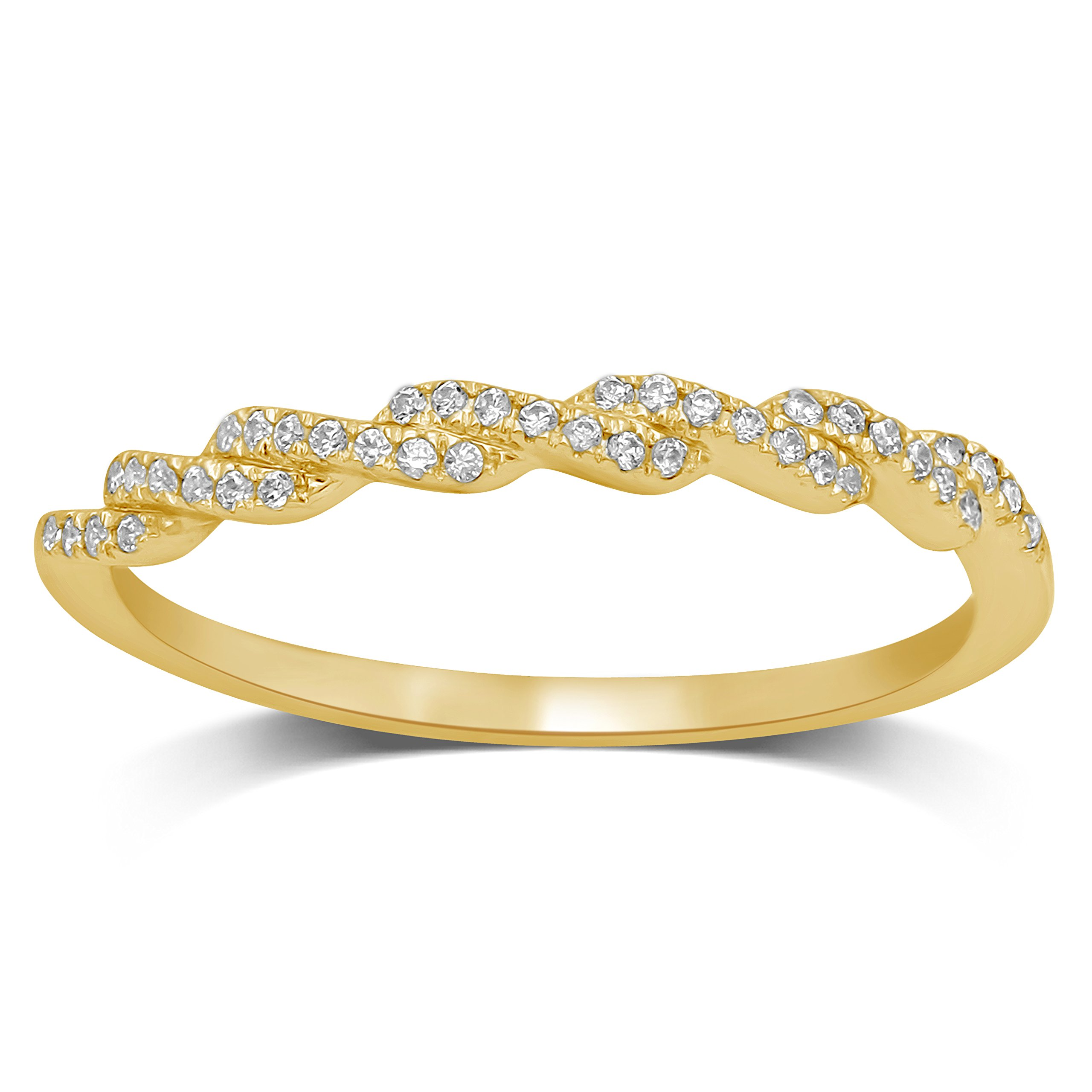 Diamond Jewel 10K Yellow Gold 1/10 ctw Diamond (I-J Color, I2 Clarity) Stackable Twist Fashion Band