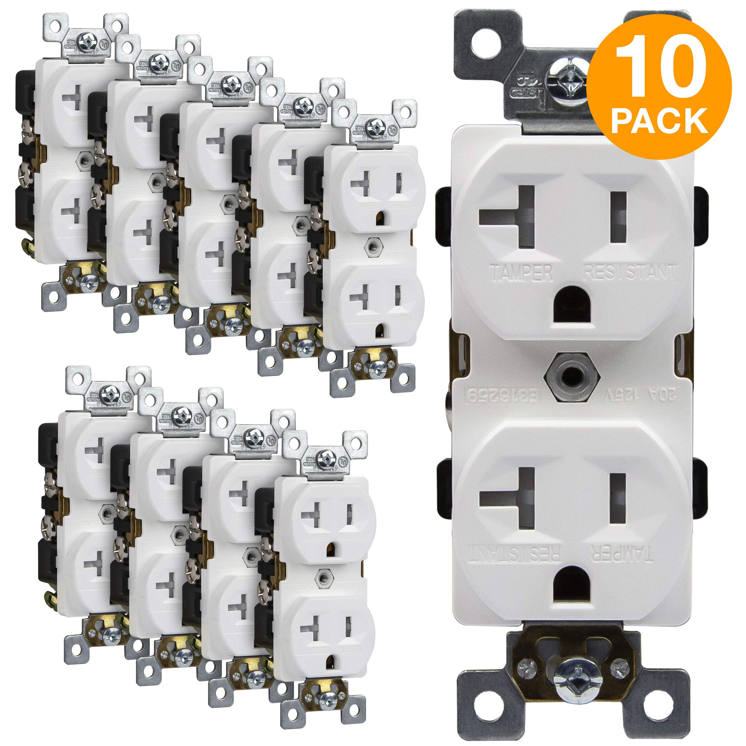 ENERLITES Duplex Receptacle, Tamper-Resistant, Commercial Grade Outlets, 20A 125V, Self-Grounding, 2-Pole, 3-Wire, 5-20R, UL Listed, 62040-TR-W-10PCS, White (10 Pack)