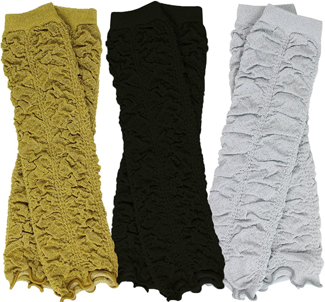 Gold Silver Rouched Ruffle juDanzy 3 Pair Baby Girl Leg Warmers Black