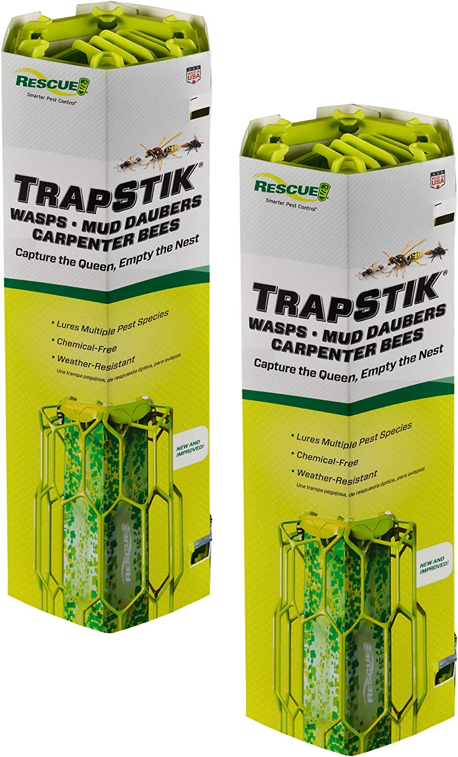 RESCUE Trapstik for Wasps with Bird Guard, 2 Pack