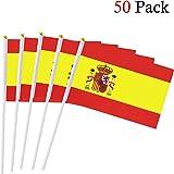 Hemore Banderas Pequeñas,Banderas de Mano,50 PCS 14 x 21CM Mini Banderas de España