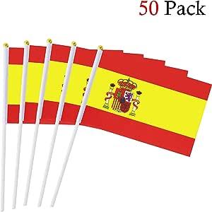 Hemore Banderas Pequeñas,Banderas de Mano,50 PCS 14 x 21CM Mini Banderas de España: Amazon.es: Hogar