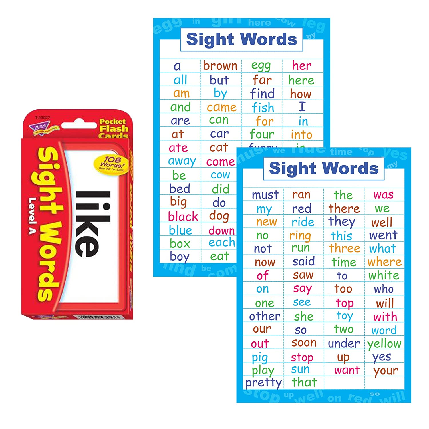 Sight Words Flash Cards and Poster Set - Pre K and Kindergarten Basic Sight  Words , High Frequency Word Flashcards Dolch and Fry For Kids Learning How  ...