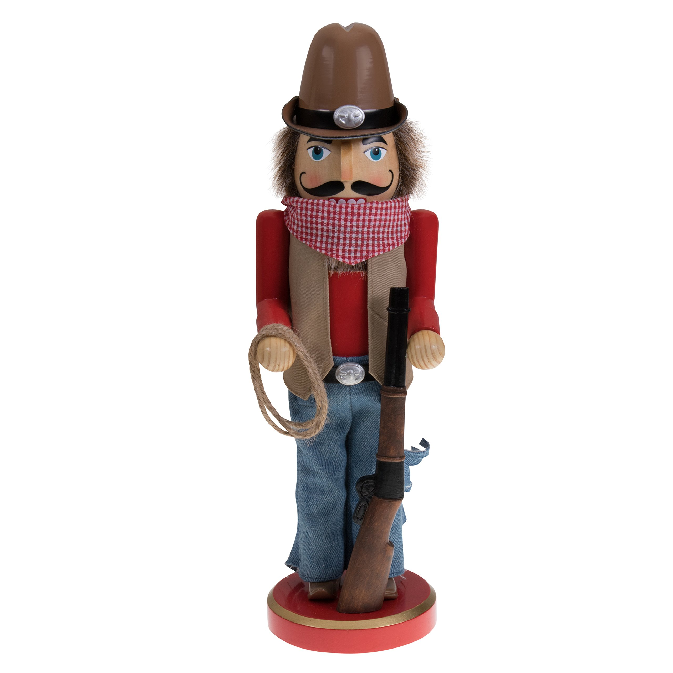 "Tall Cowboy Nutcracker by Clever Creations | Wearing Cowboy Hat, Belt Buckle and Handkerchief | Holding Rifle and Lasso | Perfect for Any Collection | Festive Holiday Decor | 100% Wood | 12"" Tall"