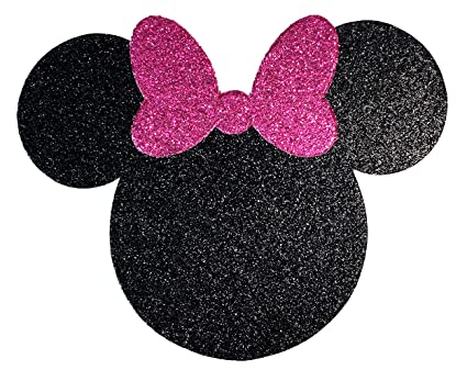 Amazon.com  Disney Minnie Mouse Black and Pink Glitter with Bow Card ... 1d523ea697