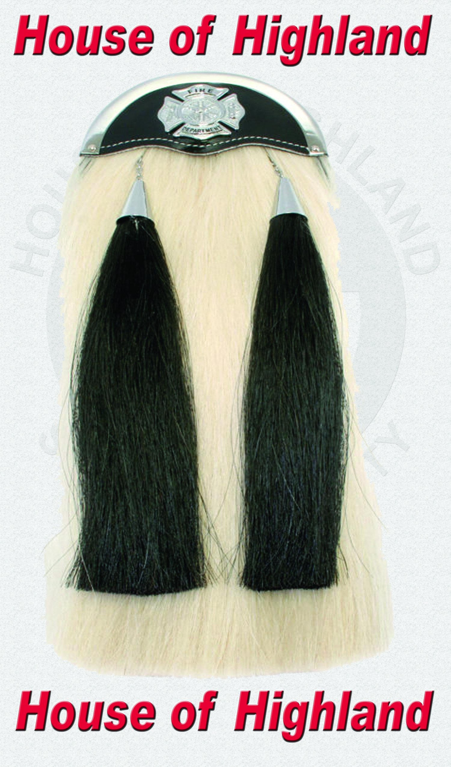 Brand New 100% Real Horse Hair Long Sporrans with Chain & Belt with Fair Fighter Badge.