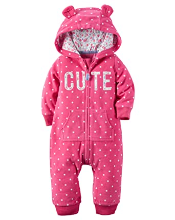 Baby Clothing Sets 6 Months Carters Baby Girls Hooded Fleece Jumpsuit - Magenta Cute-6M