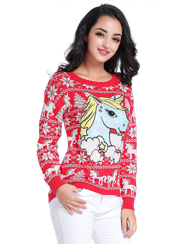 v28 Ugly Christmas Sweater, Women Girl Junior Unicorn Clothes Jumper ...