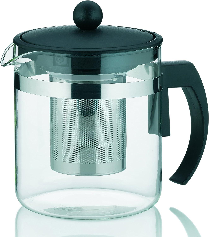 TAMUME 1 L Glas-Teekanne mit Edelstahl Infuser und Cap Glas und Edelstahl 1L